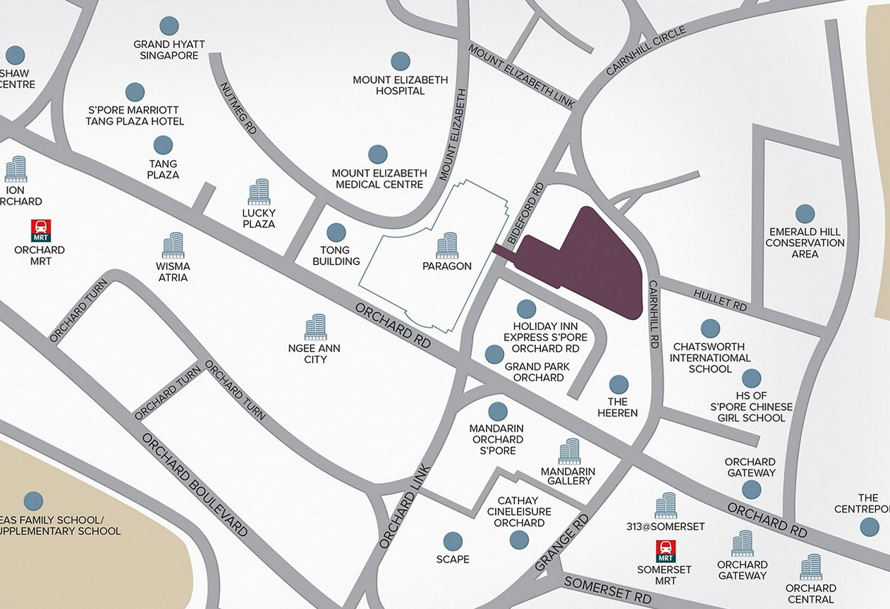 map of cairnhill nine capitaland